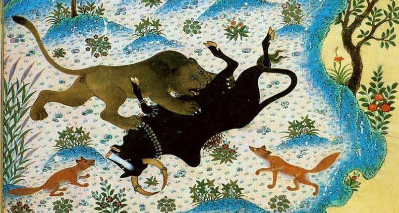 From the same 1429 Persian manuscript. Sañjīvaka/Schanzabeh.