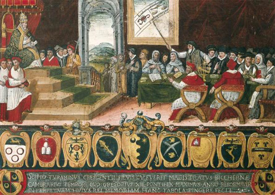 The Phantom Time Hypothesis questions the motives and outcomes of Pope Gregory XIII's commission to reform the Julian calendar in 1582                Source: Scipio Turaminus / Public domain