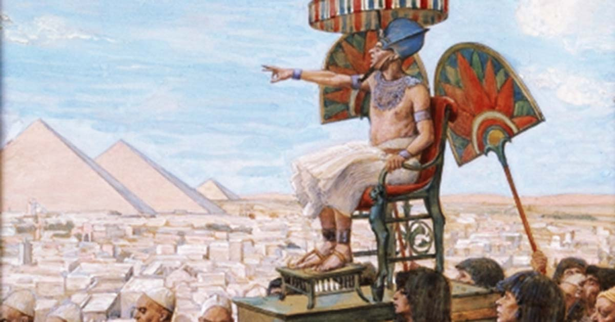 Representational image of a pharaoh from 'Pharaoh Notes the Importance of the Jewish People,' by James Jacques Joseph Tissot.