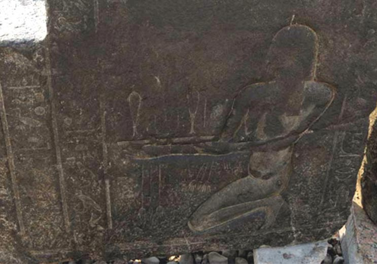 Part of the shrine showing Pharaoh Nectanebo I, who was the last native king to rule Egypt before the Greeks conquered.