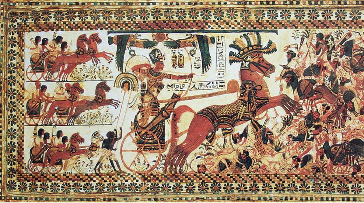 Pharaoh Tutankhamun riding a chariot