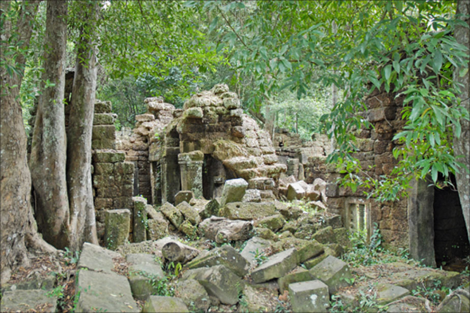 Khmer temple ruins at Phnom Kulen, a sacred mountain range in Cambodia.