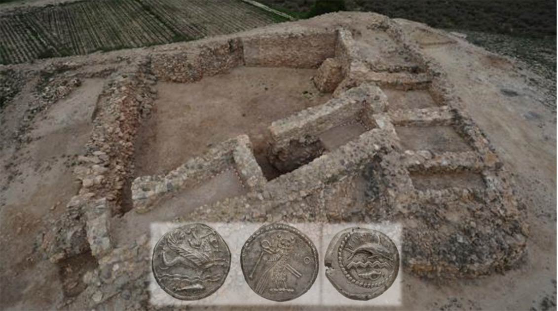 Aerial view of the Phoenician settlement at Cabezo Pequeño del Estaño in Alicante, Spain. Inset; Examples of Phoenician silver. Source: Fernando Prados/Public Domain/Public Domain