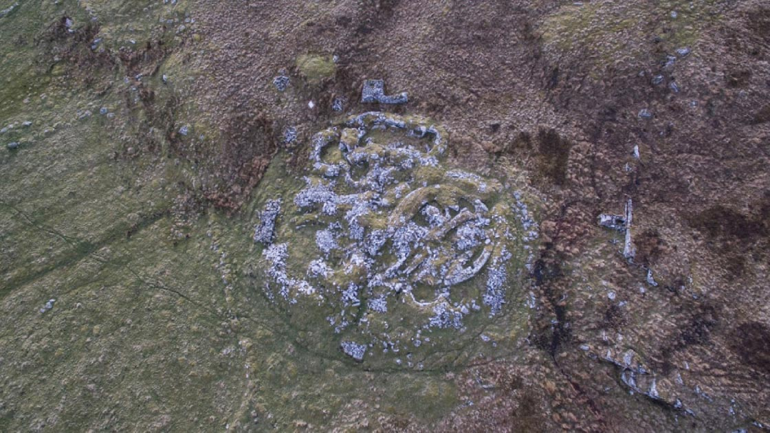Forse Wag drone photograph showing extent of the ancient site Wag of Forse.          Source: Iain Maclean, Caithness Broch Project