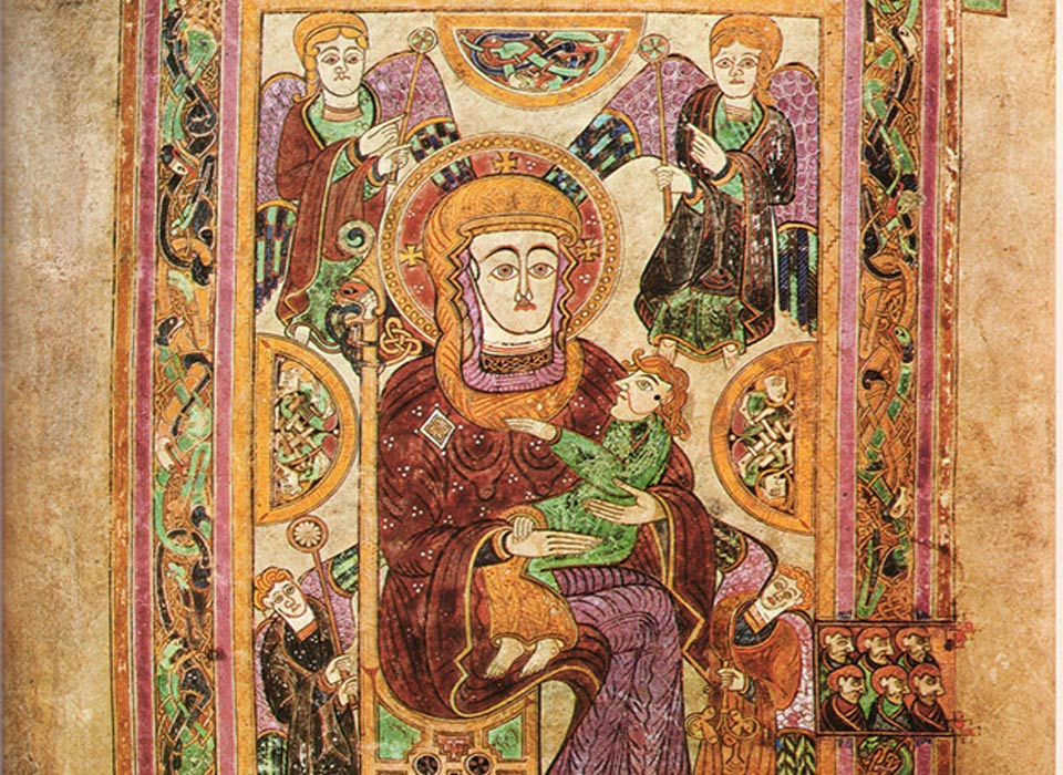 Folio 7v contains an image of theVirgin and Child.