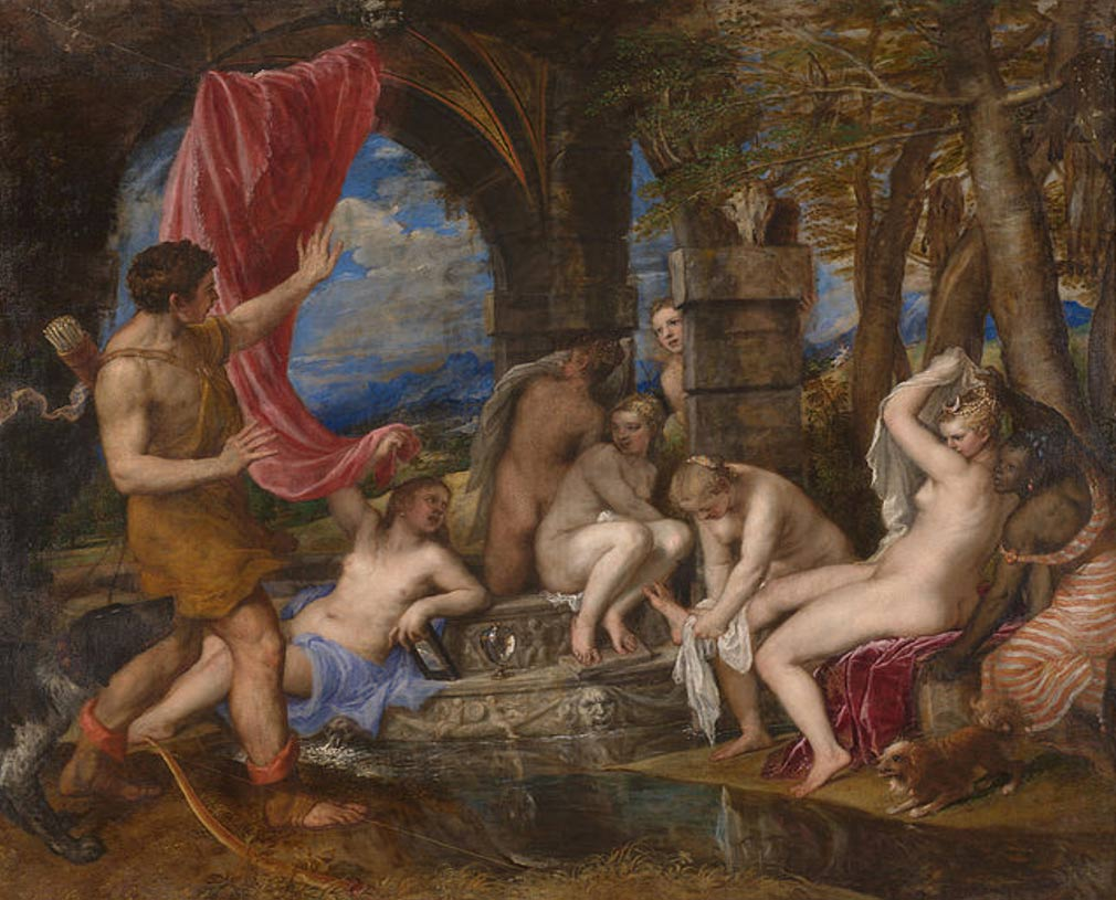 Actaeon Surprising Diana (Artemis) in the bath, by Titian