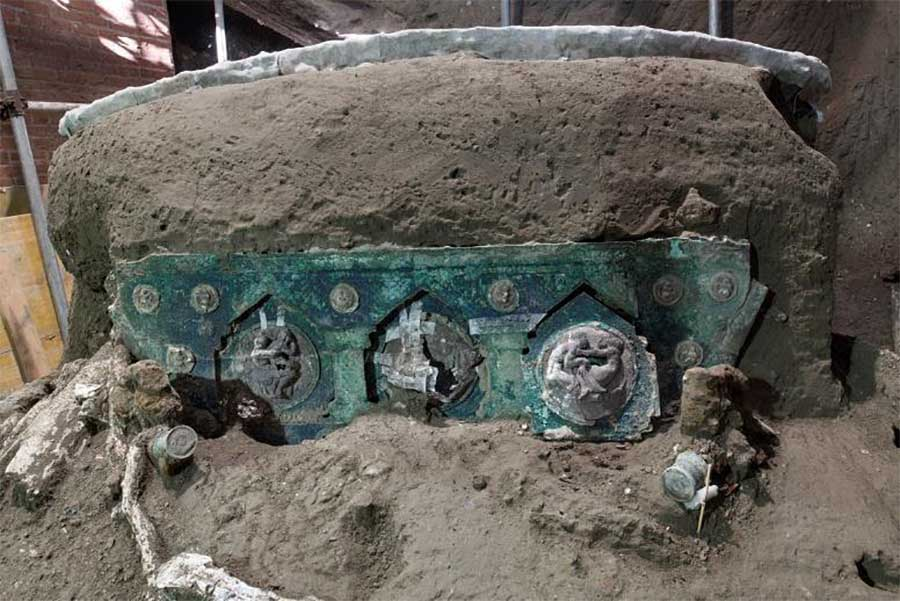 The ceremonial chariot discovered near Pompeii. Source: Pompeii Archaeological Park