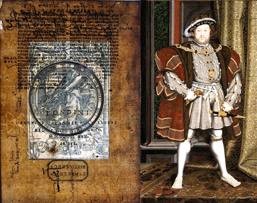 Images merging text from both sides of the paper in a 1535 Latin Bible. Portrait of Henry VIII (1537-1547) by the workshop of Hans Holbein the Younger.