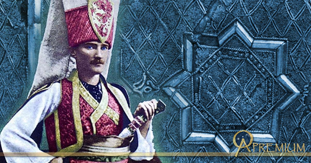 Mustafa Kemal Atatürk wearing the traditional Janissary uniform (Public Domain), and ornament from a Janissary's Cap, 17th century Turkey