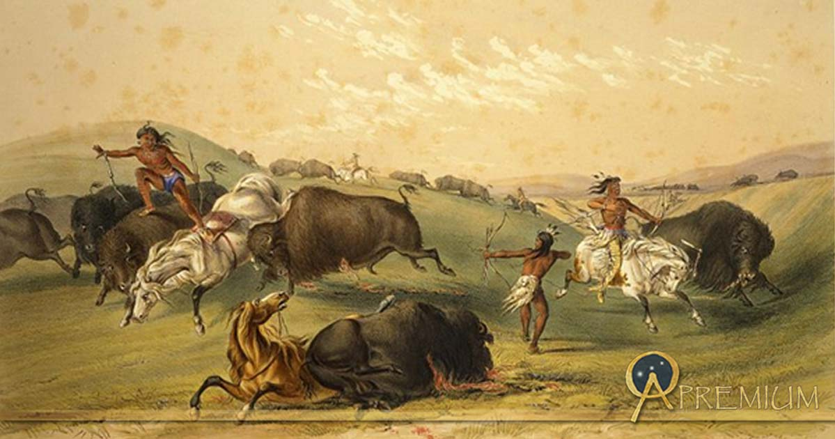 Buffalo Hunt: A Numerous Group by George Catlin 1844.