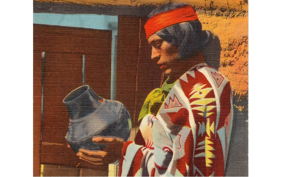 This postcard shows a Pueblo Indian man with San Ildefonso Black Pottery. The postcard was published between 1930 and 1945.