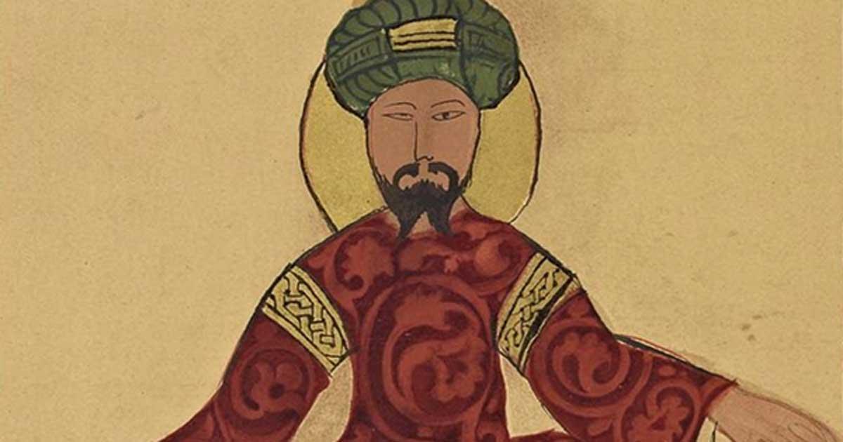 A possible portrait of Saladin, found in a work by Ismail al-Jazari, circa 1185.