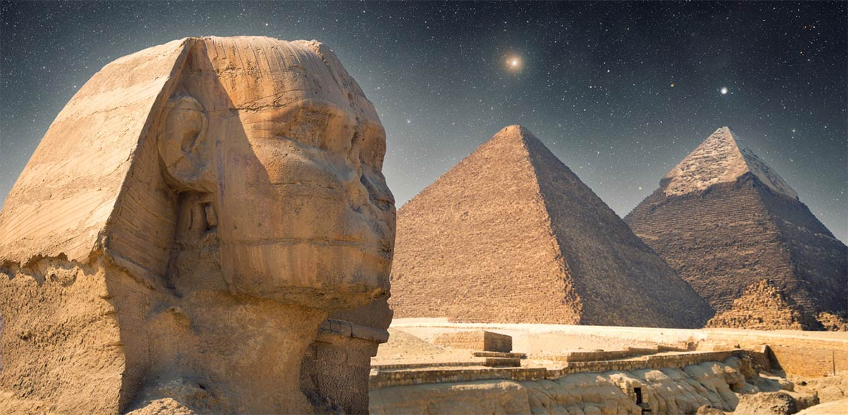 What secrets could the alignment of the Giza Sphinx and the Great Pyramid of Giza be hiding? Could there be further hidden pyramid chambers inside the Great Pyramid? Source: Aliaksei / Adobe Stock