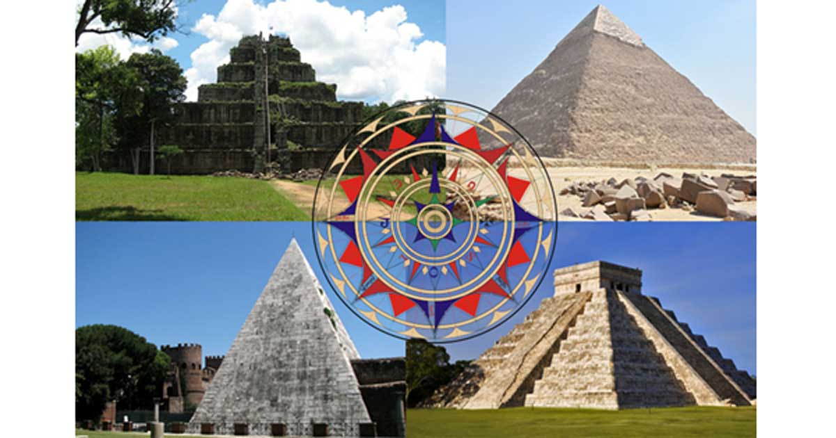 Clockwise from top left - Koh Ker, Cambodia (thomaswanhoff/CC BY SA 2.0), Pyramid of Khafre, Egypt (MusikAnimal/CC BY SA 3.0), El Castillo, Chichén Itzá, Mexico (Grand Velas Riviera Maya/CC BY SA 2.0), Pyramid of Cestius, Italy (Nicholas Laughlin/CC BY NC SA 2.0) Center: Replica of a wind rose from the chart of Jorge de Aguiar, 1492. (Alvesgaspar/CC BY SA 3.0)