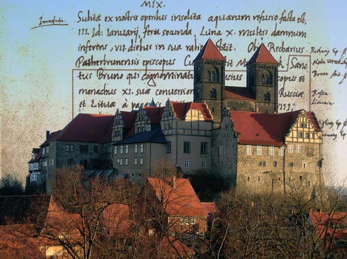 Quedlinburg Castle and Monastery, Quedlinburg, Germany where the Annals of Quedlinburg were written.