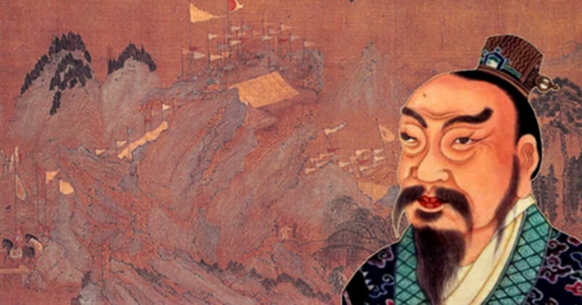 A portrait painting of Emperor Gao of Han (Liu Bang), from an 18th-century Qing Dynasty album of Chinese emperors' portraits. (Public Domain) Background: 'Entry of the First Emperor of the Han Dynasty into Guanzhong' (early 12th century) by Zhao Boju.