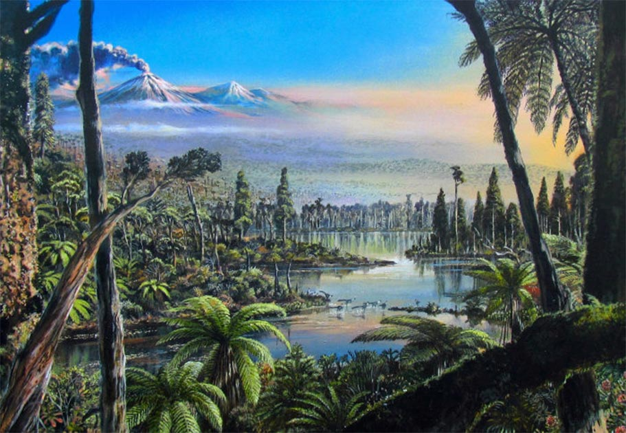 Reconstruction of the West Antarctic Turonian–Santonian temperate rainforest. The painting is based on palaeofloral and environmental information inferred from palynological, geochemical, sedimentological and organic biomarker data obtained from cores 9R and 10R at site PS104_20-2. T            Source: Alfred-Wegener-Institut/J. McKay / CC BY 4.0