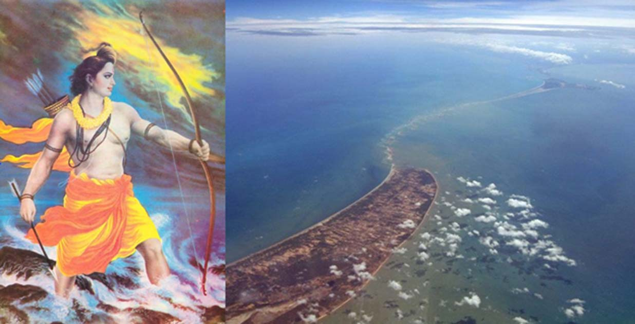 """Lord Rama got fed up with asking a non-responding Varuna (God of the oceans) to help him and took up the Brahmastra."" (Fair Use) Ram Setu – a natural phenomenon or perhaps a manmade bridge built to save a queen?"