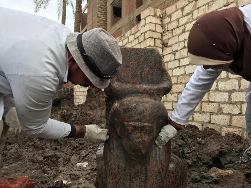 Pink granite statue of Ramses II uncovered in Giza.    Source: Ministry of Antiquities