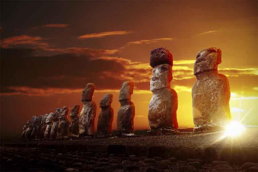 Moai on Rapa Nui, aka Easter Island. Source: thakala /Adobe Stock
