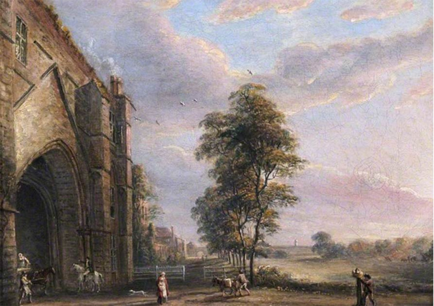 The abbey gateway at the now ruined Reading Abbey in a Paul Sandby oil painting from 1808. Source: Public domain
