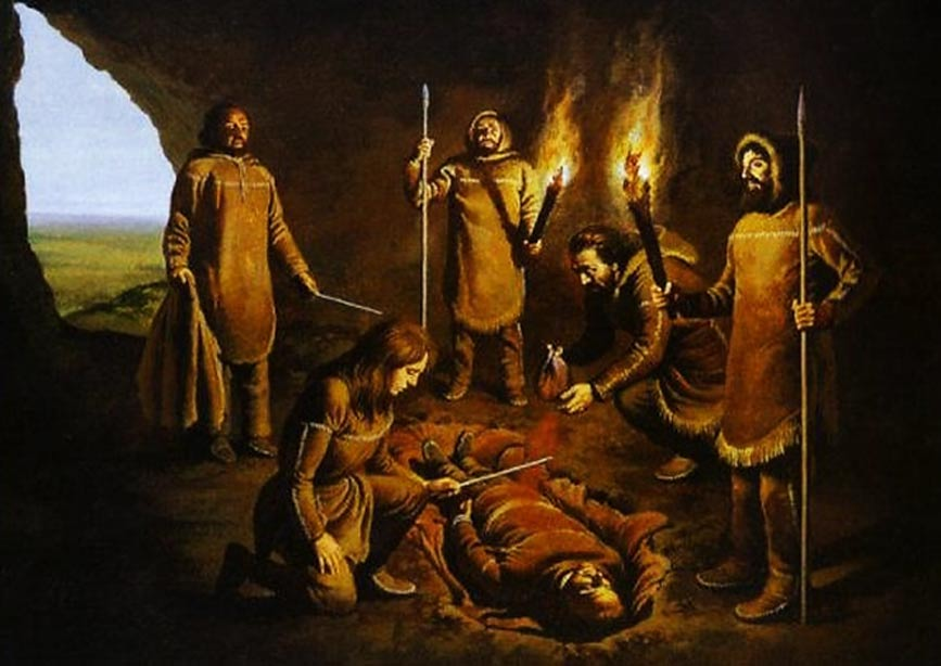 An artistic representation of the burial at Paviland Cave.