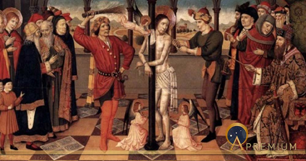 The Flagellation of Christ by Jaume Huguet  (1412–1492) Louvre Museum (Public Domain)