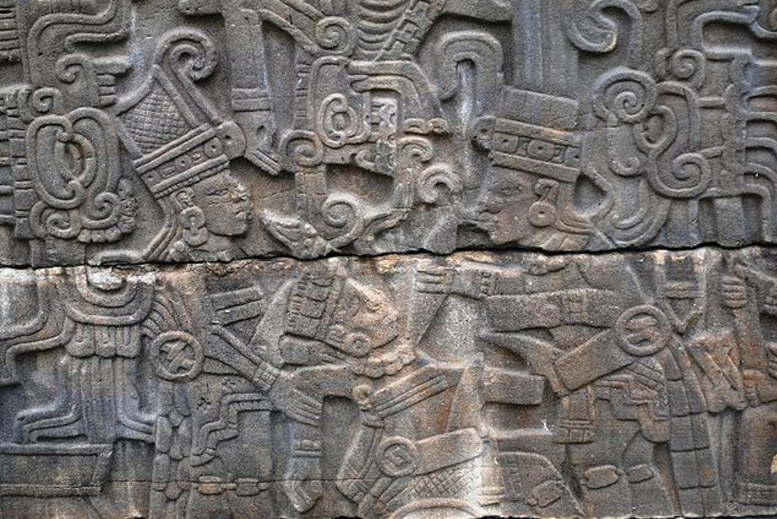 Relief depicting beheading on one of the panels of the South Ball Court at Tajin, Veracruz, Mexico