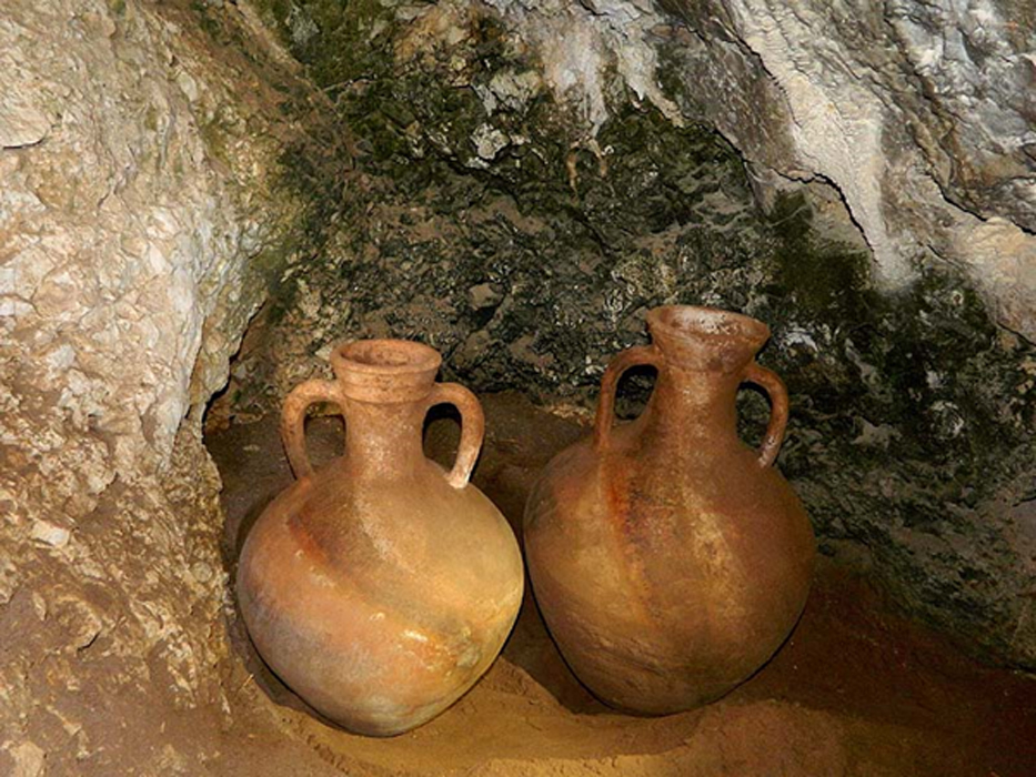 Two of the jugs excavated from the hard to reach cave on the Israeli/Lebanon boarder.