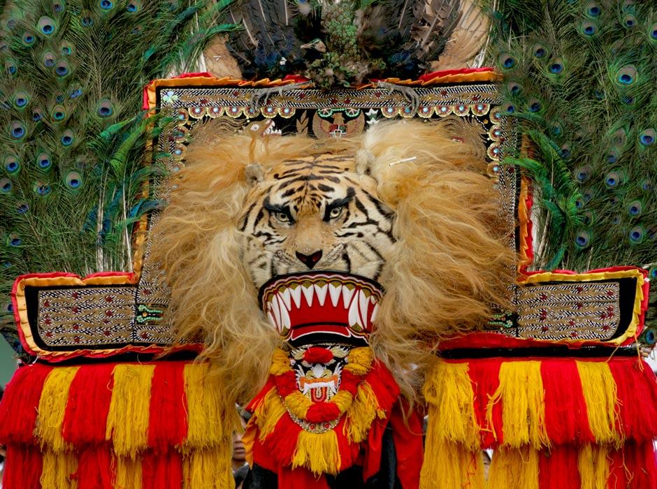 Reog Ponorogo traditional dance lion and peacock mask