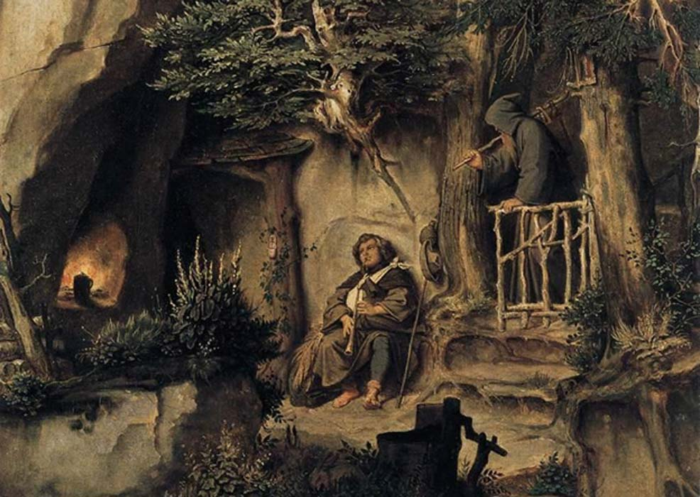 'A Player with a Hermit' by Moritz von Schwind