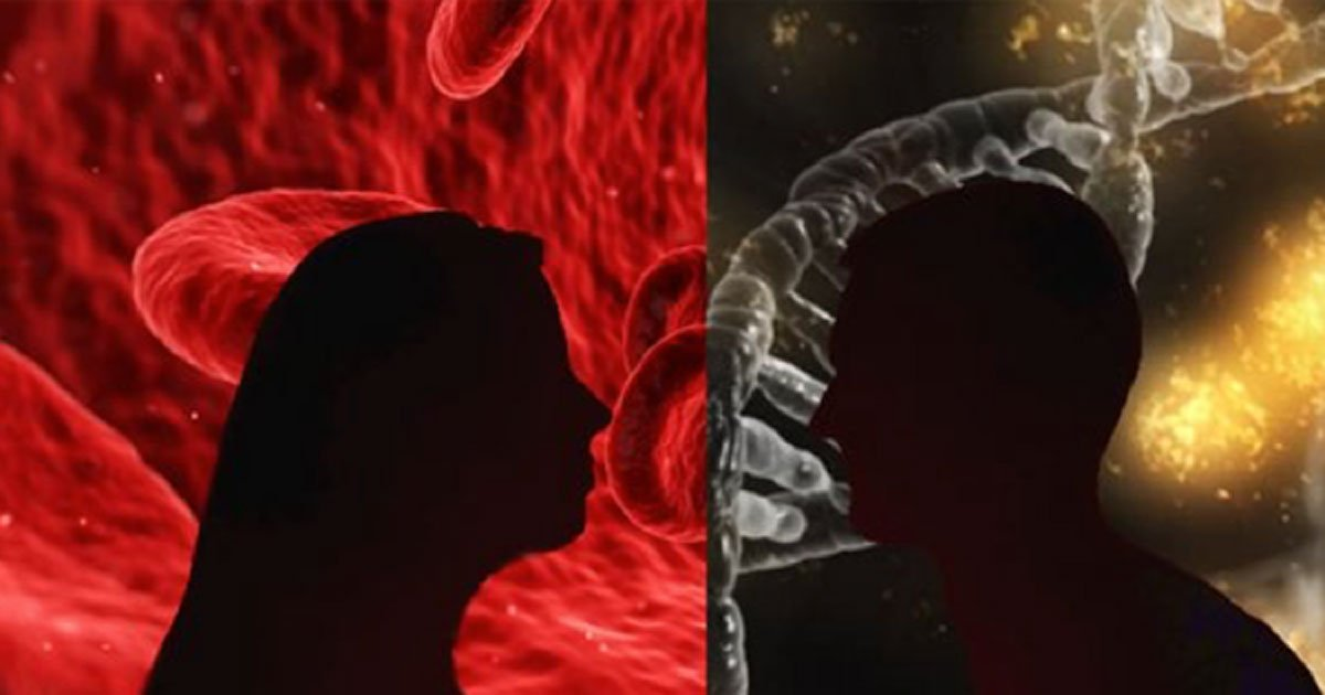Silhouettes (Public Domain) in front of blood cells (Public Domain) and a gene.