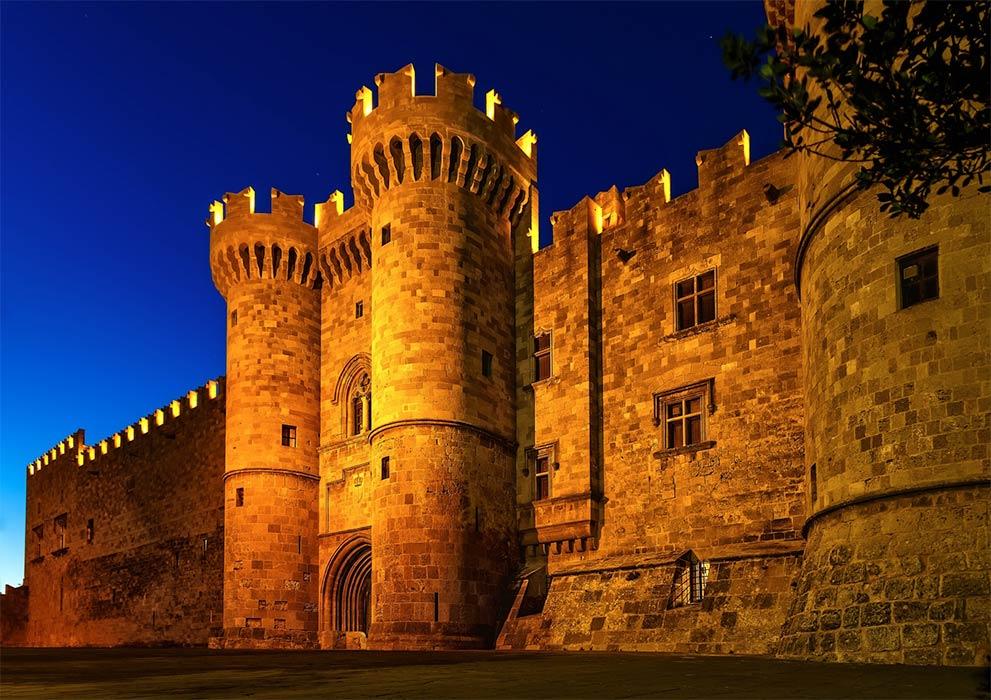 St John knights castle at night, Rhodes island, Greece