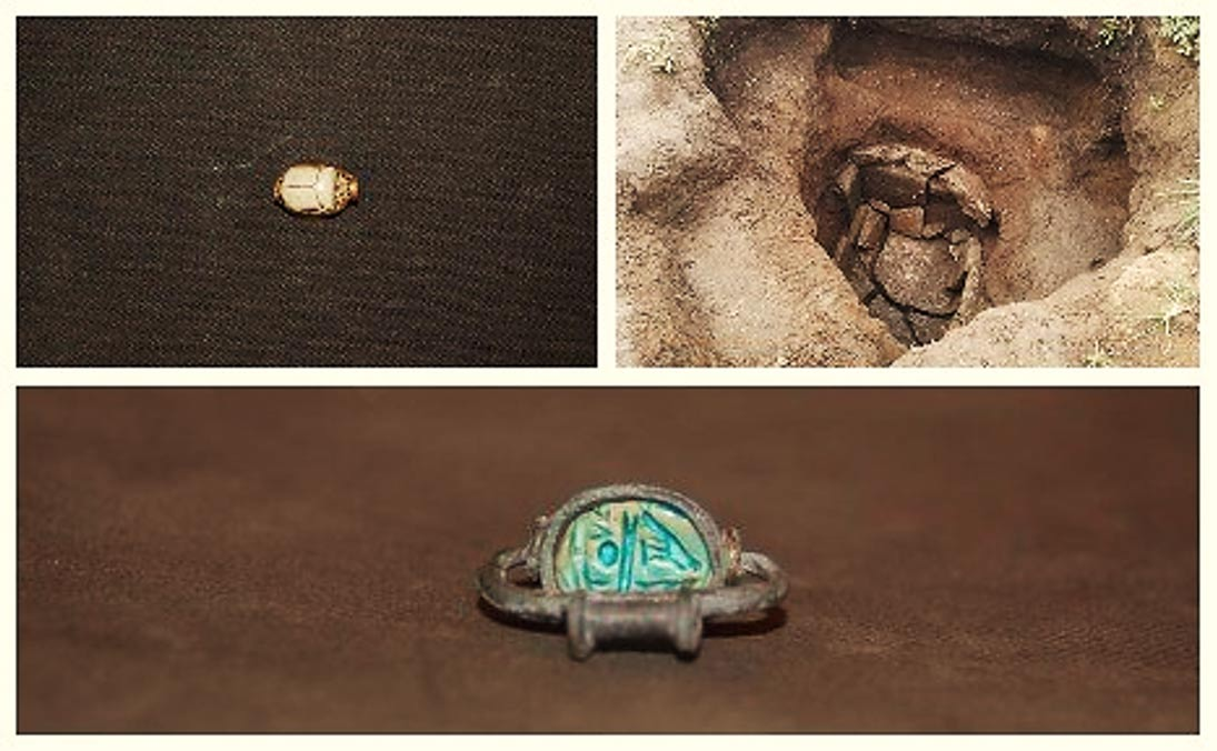 The tomb and a couple of the artifacts that were found within it.