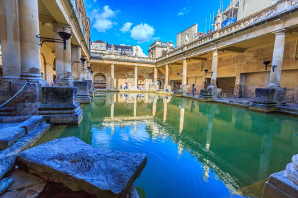 Roman Baths Museum at Bath in UK.