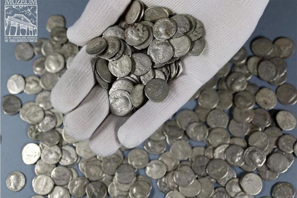"1,753 Roman denarii coins were found in total spread out over Mariusz Dyl's farm near Lublin and they have been described as ""the crown of Polish archaeology.""   Source: Stanisław Staszic / Muzeum Hrubieszow"