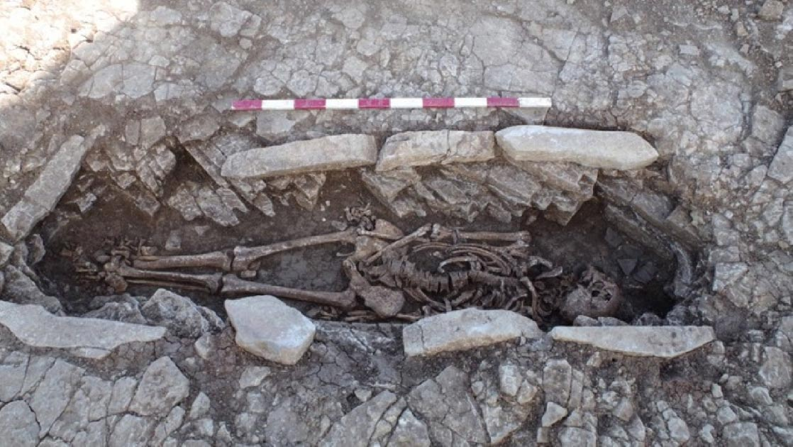 One of the skeletons in the stone coffin structure unearthed at the Roman burial site in Somerset.       Source: Wessex Archaeology