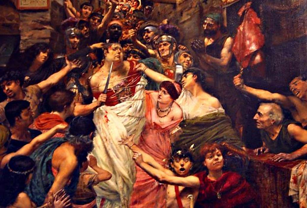 'Vitellius dragged through the streets of Rome by the populace' Georges Rochegrosse (1883). (Deriv.) Is he one example of a Roman emperor assassinated due to bad weather?