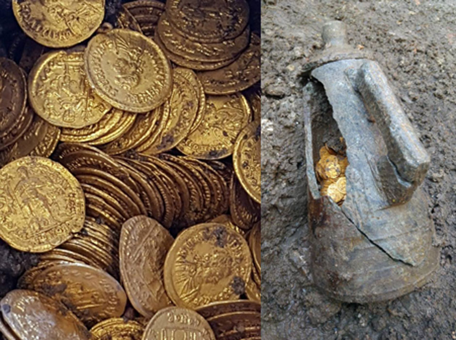 Roman gold coins found in an amphora in Como, Italy