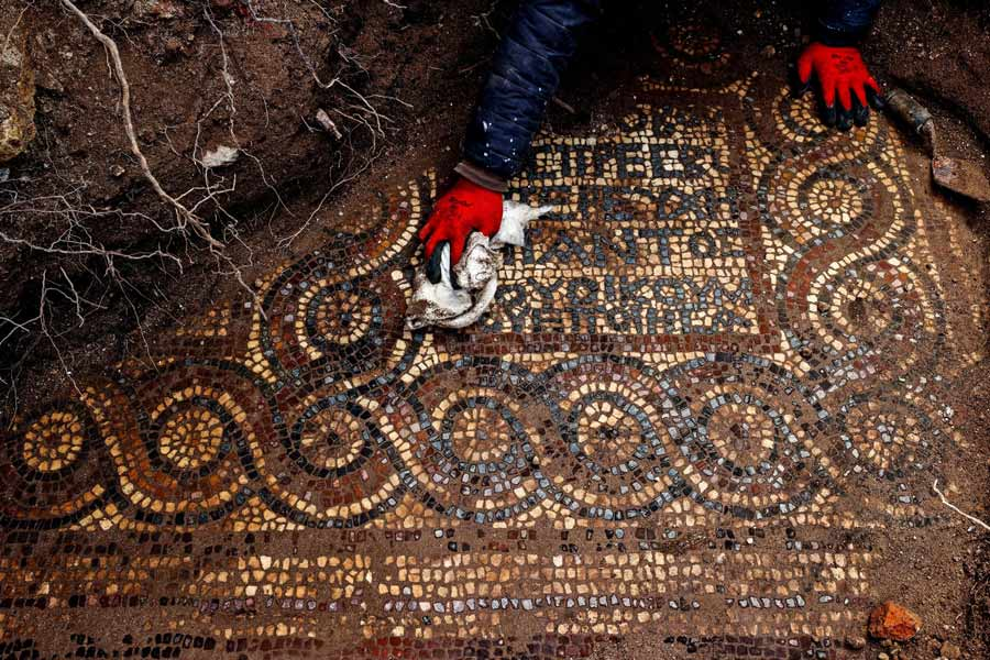 The Roman monastery mosaic recently unearthed in Western, Turkey