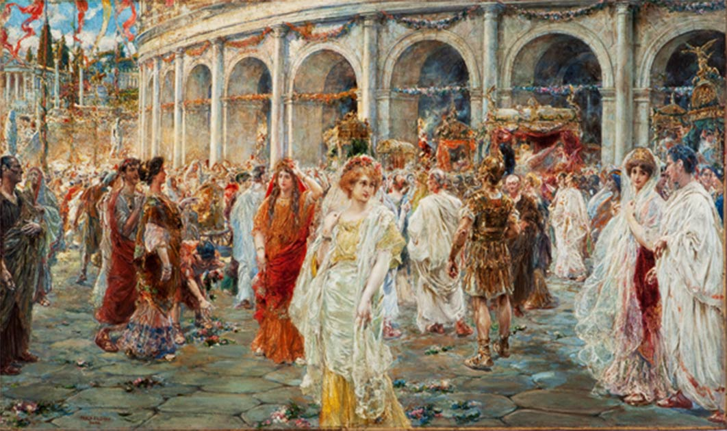 'The Roman Festivals of the Colosseum' by Pablo Salinas shows people of different Roman social classes. Source: Public Domain