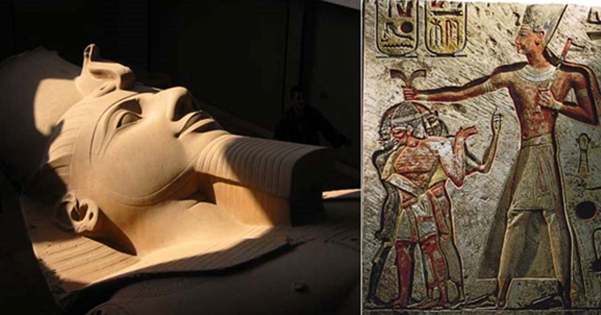 Colossal Statue of Ramses II in Memphis. Ramses II and his prisoners, Memphis relief