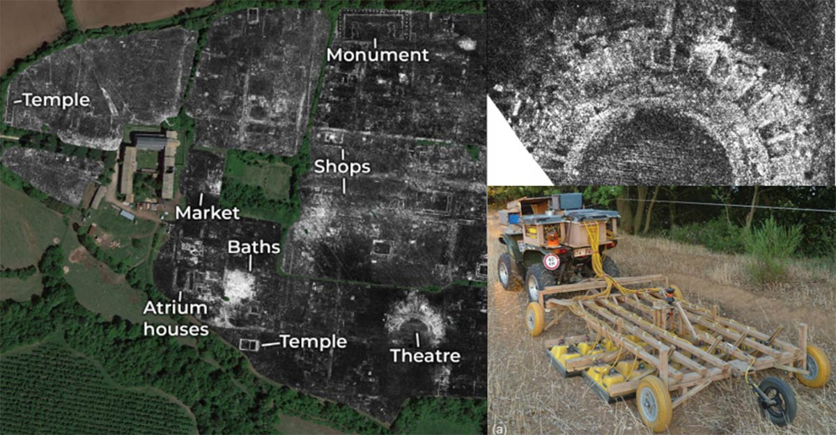 A slice of ground penetrating radar data from Falerii Novi, revealing the outlines of the town's buildings; Falerii Novi temple; GPR system.            Source: L. Verdonck / Antiquity Publications