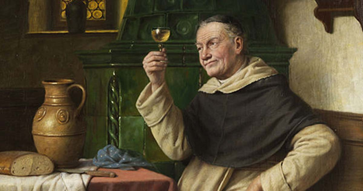 Detail of 'Monk tasting wine' by Josef Wagner-Höhenberg.