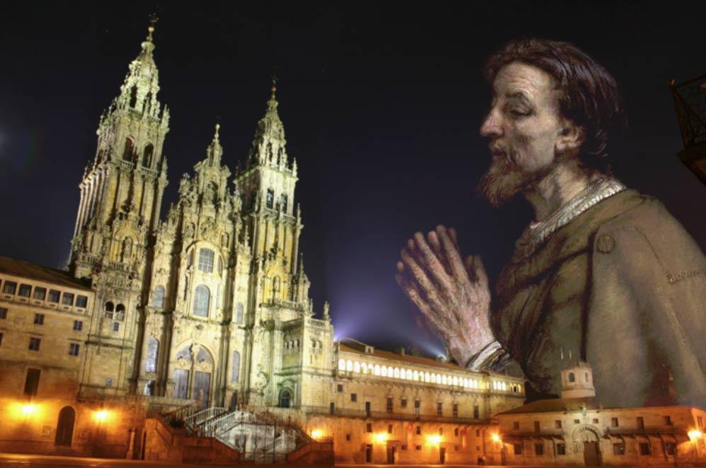 Obradoiro square in Santiago de Compostela, Galicia (Spain), Saint James the Greater.