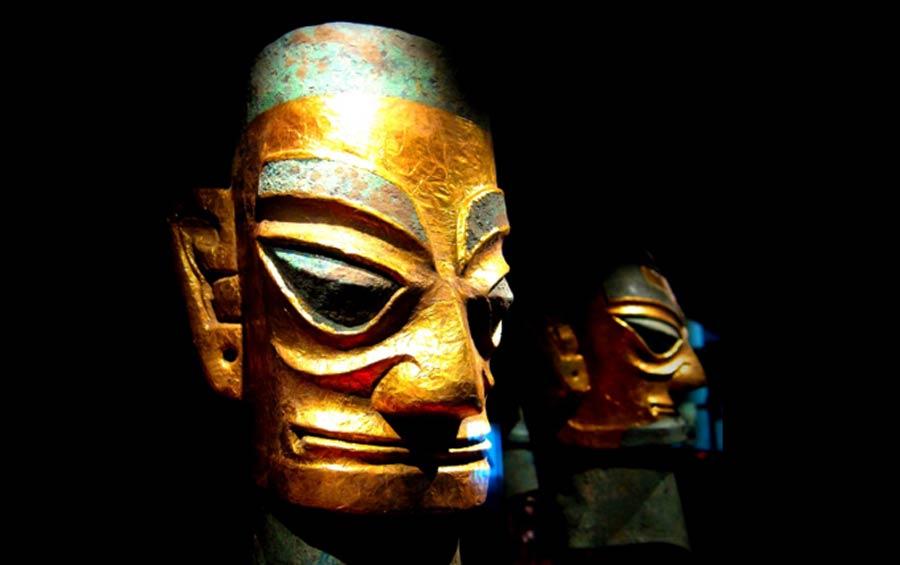 Sanxingdui bronze heads wearing gold foil masks