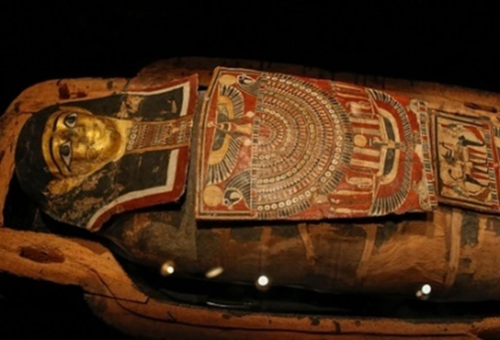 The embellished mummy case containing the remains of the priest Iret-hor-iru