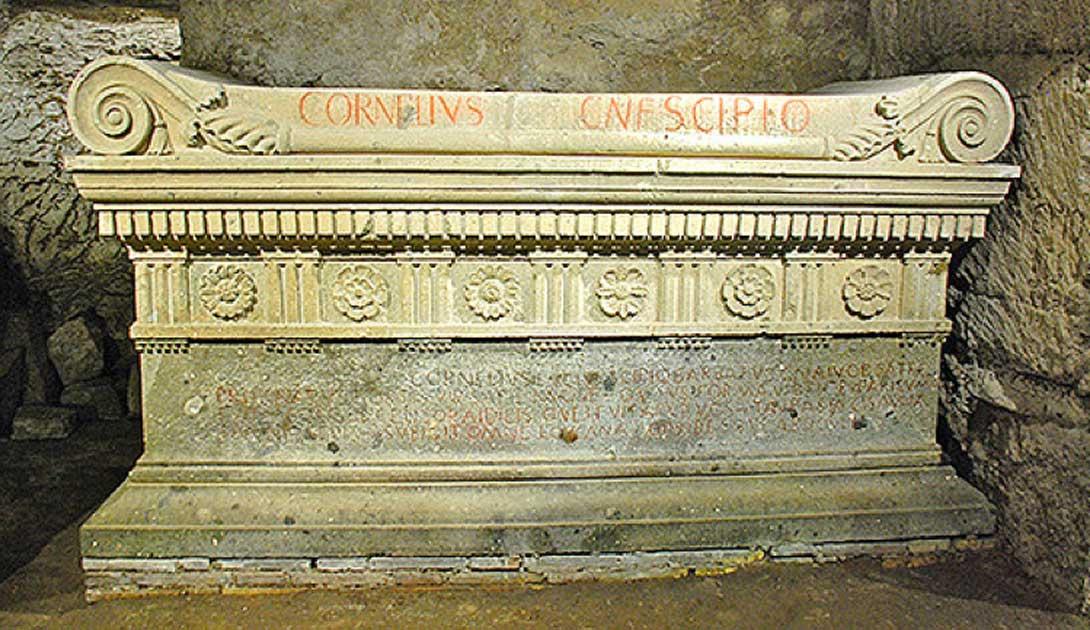 Replica of the Sarcophagus of Scipio Barbatus at the Scipios Tomb.