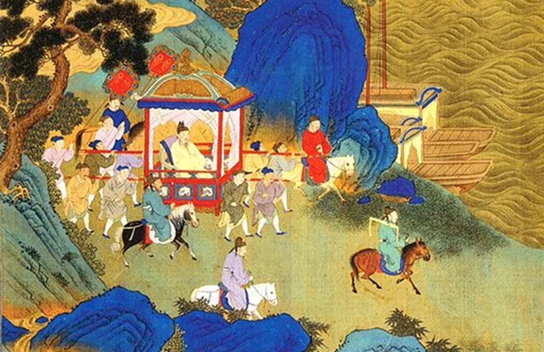 Detail of Qin Shi Huang's imperial tour across his empire. Depiction in an 18th century album.