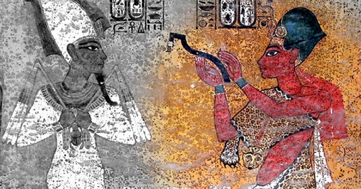 """Scene on the north wall in KV62 shows King Aye as sem priest, performing the """"Opening of the Mouth"""" ritual on the mummy of Tutankhamun; design by Anand Balaji"""